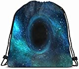 DHNKW Drawstring Backpack String Bag 14x16 Blue Space Infinity Black Hole Over Star Field Outer Science Physics Astrophysics Supernova Sky Singularity Sport Gym Sackpack Hiking Yoga Travel Beach
