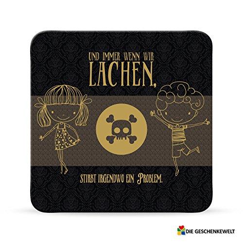 Sheepworld, Black Chili - 44666 - Untersetzer Nr. D20, Und immer wenn wir lachen, stirbt irgendwo ein Problem., Kork, 9,5cm x 9,5cm