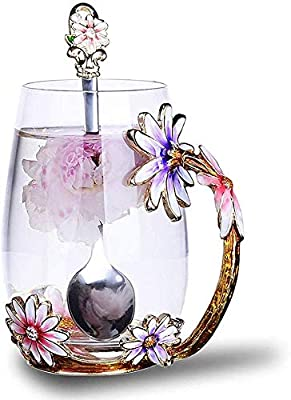 Luka Tech Enamels Butterfly flower Lead-free Glass Coffee Mugs Tea Cup with Steel Spoon, personalised Gifts For Women Wife Mom Friends Birthday Mothers Valentines Day Wedding (Purple-Tall)