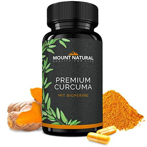 Mount Natural Curcuma Kapseln Hochdosiert, Vegan. Kurkuma Pulver + 95% ig Curcumin Extrakt (Entspricht Ca. 10.000mg/Tag) + Bioperine Piperin, Laborgeprüft & Hergestellt In Deutschland