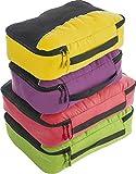 Bago 4 Set Packing Cubes for Travel - Luggage & Suitcase Organizer - Cube Set (GreenRed PurpleYellow)