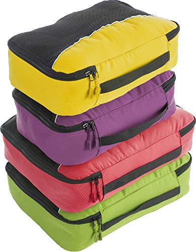 4Pz Bago Cubi Di Imballaggio - Set per Viaggi (PCN(L)GreenRed(M)PurpleYellow)+ 6Pz Sacchetti Organizzatori per i bagagli