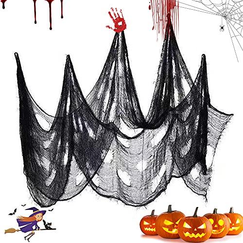 Aurasky Tela Espeluznante, 2PCS Paño Espeluznante de Halloween, Gasa Negra de Halloween, Tela de Halloween, Espeluznante Tejido Halloween, Decoraciones Espeluznantes de Halloween (7.5M*1M)