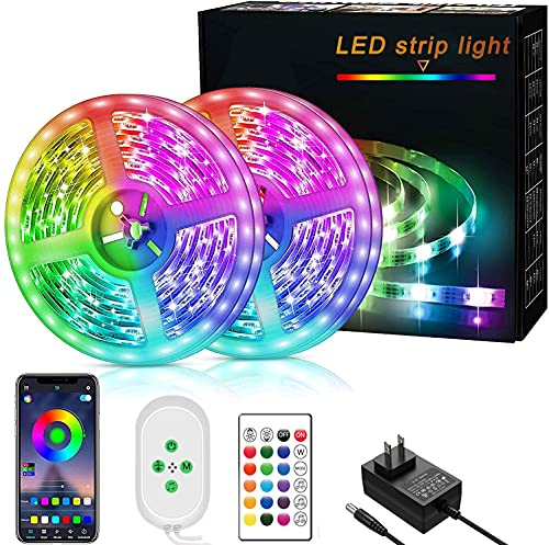 Goodoor LED Strip Lights 32.8ft LED Light Strip 5050 RGB Music Sync String Light Bedroom Strip Light Color Changing Rope Lights APP Control for Home, Kitchen, TV, Party, for iOS and Android