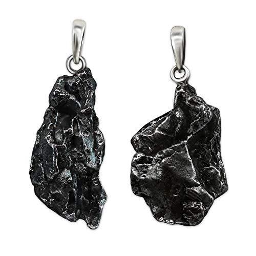 CLEVER SCHMUCK Set Silberne Partneranhänger 2 echte Sternsschnuppen Meteoriten, Schlaufe glänzend aus Sterling Silber 925 (2 Stück) im Etui