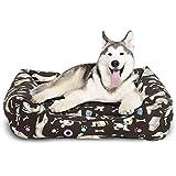 BCASE Cama para Perros, Cama para Mascotas Suave y Cómoda Estilo Cuna, Material 100% Poliéster, 85x62x18 CM, con Diseño de Perros, Huesos y Huellas, En Color Café Oscuro.