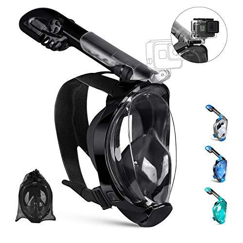 OUSPT Tauchmaske,Schnorchelmaske Vollmaske mit 180° Sichtfeld Vollgesichtsmaske mit Abnehmbarer Kamerahalterung und Ohrenstöpsel Anti-Fog Anti-Leck für Kinder Erwachsene (Schwarz, S/M)