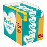 Pampers Sensitive - Lingettes Bébé peau sensible - Lot de 15 Paquets de 80 (1200 Lingettes)