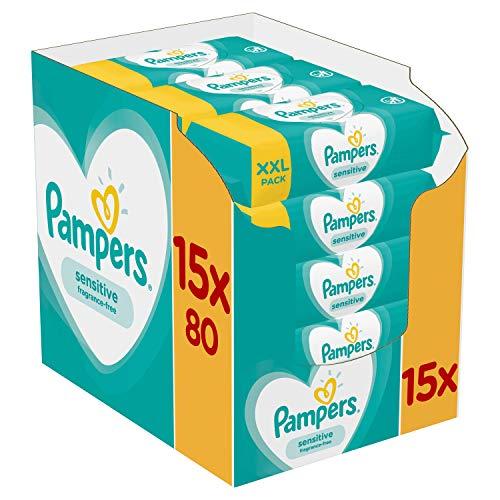 Lingettes Bébé peau sensible - Pampers Sensitive - Lot de 15 Paquets de 80 (1200 Lingettes)