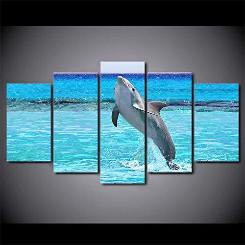 Canvas Prints Mural Frame Sofa Achtergrond Hd Gedrukt 5 Stuk Canvas Art Blauw Diep Zwembad Springen Dolfijn Schilderij Wanddecoratie Woonkamer