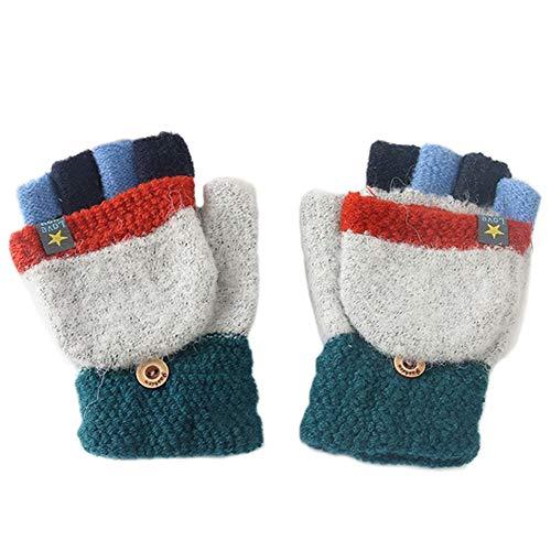 MAGIMODAC Halbfinger Handschuhe mit Klappe Kappe Mädchen Jungen Winter Fäustlinge Strickhandschuhe Winterhandschuhe Fingerlos Kinder (Sterne Grau)