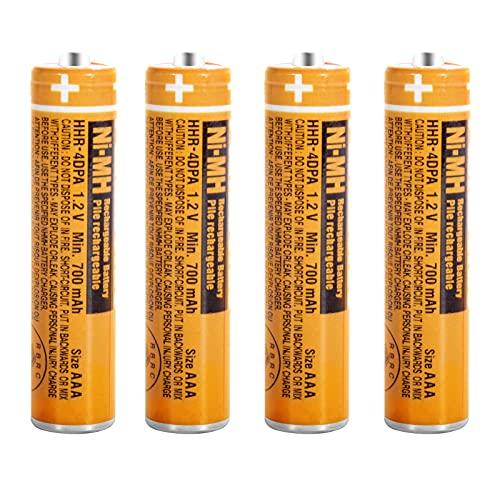 Paquete de 4 HHR-4DPA NI-MH Batería Recargable para Panasonic 1.2V 700mAh AAA Batería para Teléfonos Inalámbricos