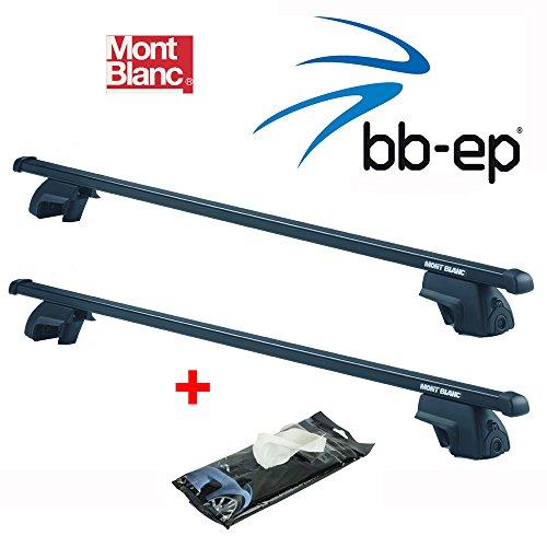 MontBlanc Premium Stahl Dachträger / Lastenträger für Seat Alhambra MPV mit normaler Reling ab Baujahr 1996 bis 2010 - Komplettes Dachträgersystem komplett montiert im Karton inkl. ProTecton Glasreinigungstücher Anti-Beschlag
