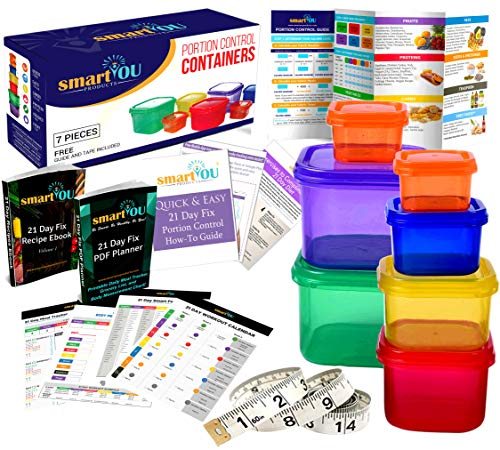 smartYOU Products 21 Day Portion Control Containers Kit - Nutrition Diet, Multi-Color Coded Weight Loss System. Complete Guide + PDF Planner + Recipe eBook and Tape Measure - BPA Free - 7 PC