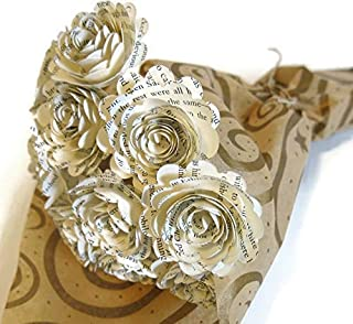 Scallop Classic Book Page Rose Bouquet 1.5 Inch Paper Flowers One Dozen Literary Theme Graduation Centerpiece