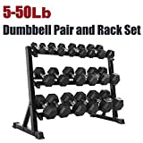 CAP Barbell SDRS-550R-14A Rubber Hex Dumbbell Weight Set, 550 lb