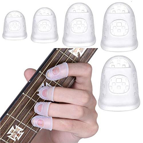 40 Stücke Gitarren Fingerschutz,Silikon Gitarren Fingerschutz,fingerschutzkappen,Gitarren Fingertip Protektoren für Akustische Gitarre Starter & Andere Saiten Instrument(Durchsichtig)