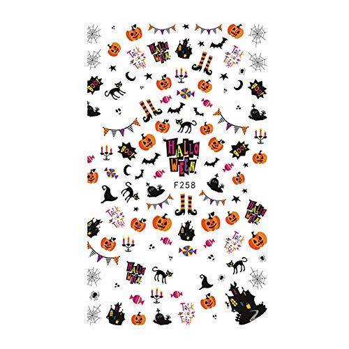 Nagel decoratie stickers, 10 soorten halloween rij schedel patroon kunst zelfklevende manicure stickers (f258)