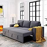 ATY 91.5' Reversible Sleeper Sectional Sofa with Pull Out Bed, Corner Couch with...