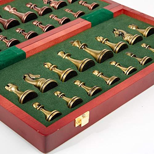 ChangHua1 Ajedrez de latón sólido de alta calidad, ajedrez de madera, juguetes de ajedrez para niños, juguetes educativos (29,2 x 28,5 cm)