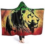 Jamaica Lion Flag Manta con Capucha para Hombre Manta de Franela súper Suave Sudadera con Capucha Túnica con Capucha portátil Capa con Capucha para Albornoz 80'x60'