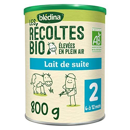 Blédina Les Récoltes Bio lait de suite 2ème âge (6-12 mois) - Lait de suite en poudre, dès les 6 mois et jusqu'aux 12 mois de bébé - Boîte de 800g