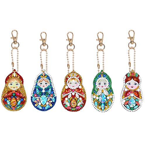 Portachiavi con pittura diamante 5Pcs, portachiavi con diamante trapano completo Matryoshka 5D per borsa con ciondolo per cellulare Decorazione regalo di Natale
