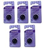 Maxell CR2032 coin 3volt battery, 5 Batteries