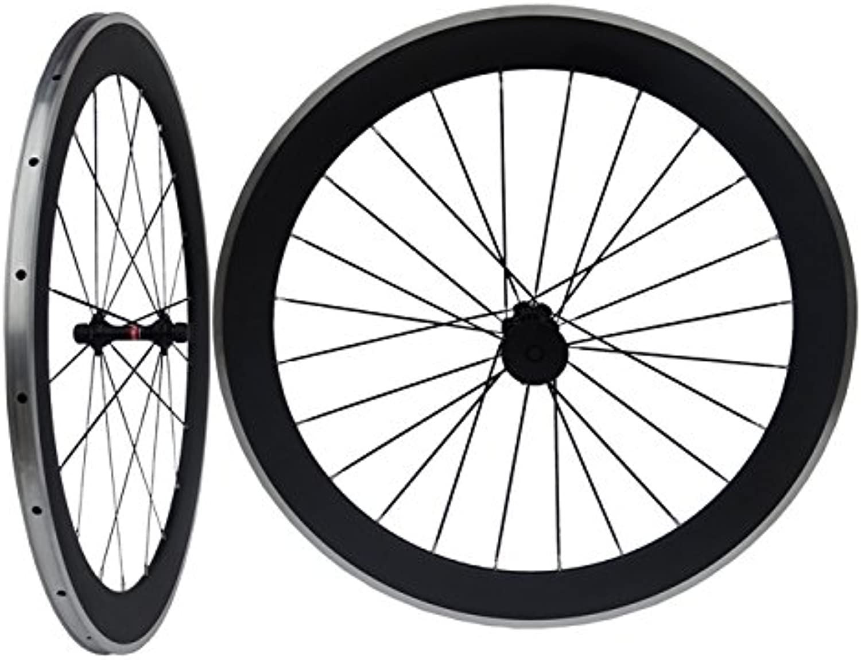 Carbon Matt Road Bike Clincher Wheelset 60mm Bicycle Wheel Rim with Alloy Brake Side