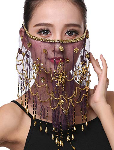Women Belly Dance Face Veil with Beads Sequins Halloween Genie Costume Accessory Purple