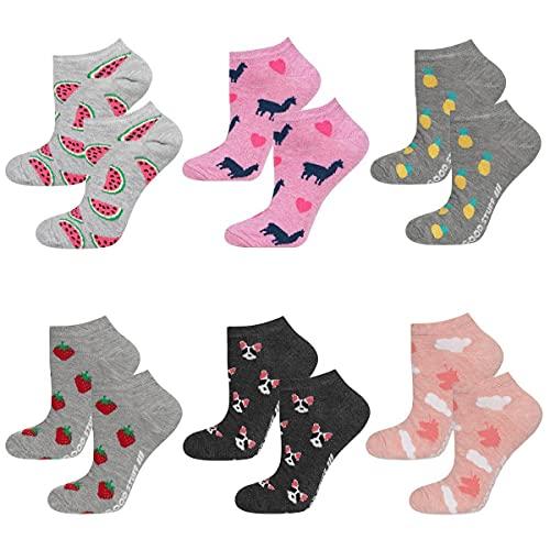 soxo Calcetines de Color para Mujer | Talla 35-40 | Paquete de 6 | Calcetines Algodón Cortos con Dibujos Graciosos | Perfectos para Zapatos y Botas