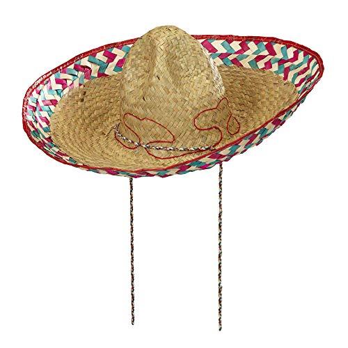Widmann 1418M – mexikanischer Sombrero, 51cm, aus Palmblättern, Strohhut, Kopfbedeckung, Mexiko Party, Sommerfest, Motto Party, Karneval,Mehrfarbig,Einheitsgröße