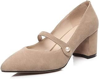 BalaMasa Womens Solid Nubuck Travel Urethane Pumps Shoes APL11135