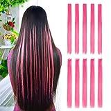 Extensiones de pelo liso de color con clip de 55,88 cm, modernos postizos para fiestas con...