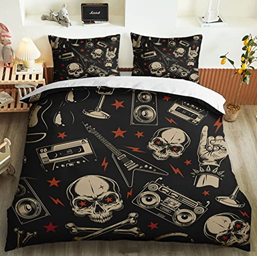 ysldtty 3D Bedding Set Cartoon Modern Punk Sugar Skull Skeleton Decoration Pillowcase Duvet Cover Set H2031U 200CM x 200CM With 2 pice pillowcase 50CM x 75CM