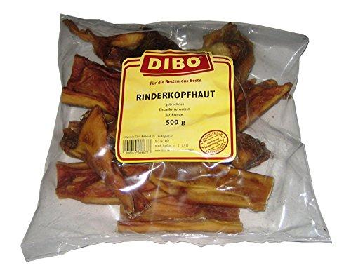 DIBO Rinderkopfhaut, 500g-Beutel, der kleine Naturkau-Snack oder Leckerli für Zwischendurch, Hundefutter, Qualitätskauartikel ohne Chemie