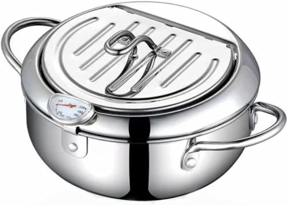 Emilykylie Rare Japanese 2021 model Deep Fry Pot with Lid St and 304 Thermometer