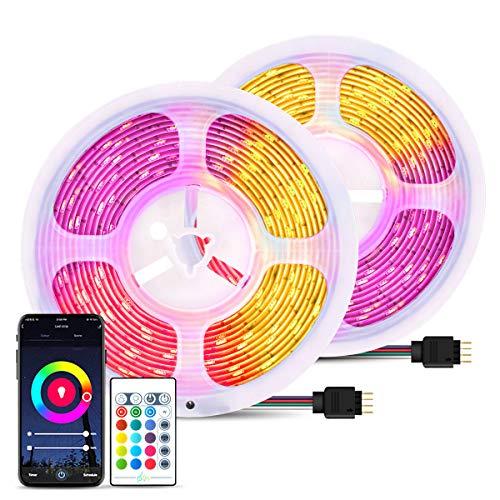 2 x 5M - Striscia LED RGB 10M WIFI, 16 Milioni di Colori e 8 Modalità, Compatibile con Alexa e Google Home, Funzione Timer, Impermeabile LED Strisce per Decorazioni, Salotto, TV, Cucina, Bar, Festa