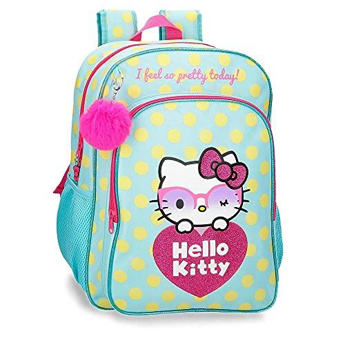 Hello Kitty Pretty Glasses Mochila Escolar Adaptable a Carro Verde 30x40x13 cms Poliéster 15,6L