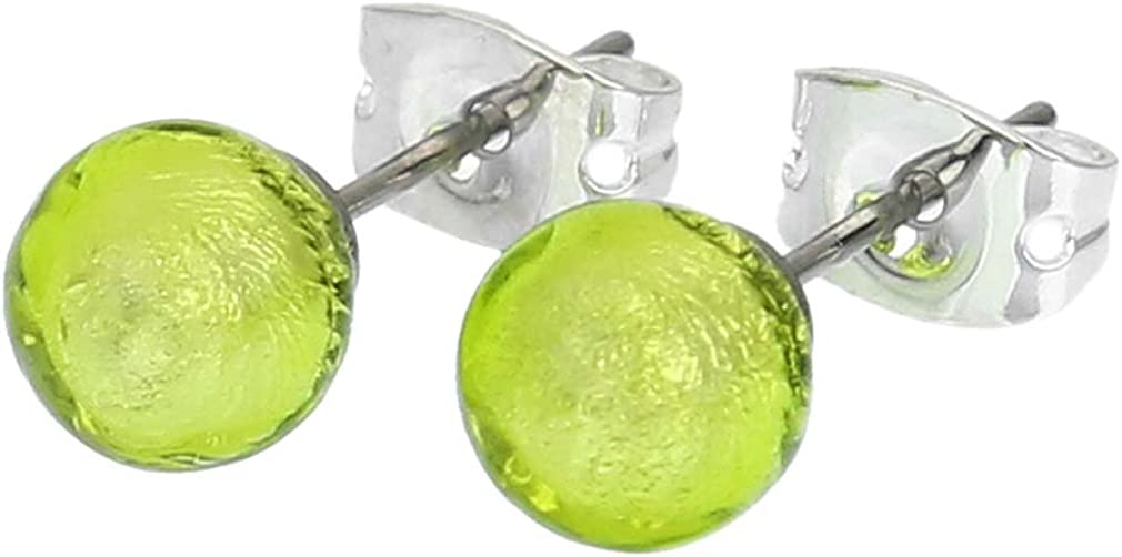 Murano Glass Tiny Stud Earrings - Apple Green