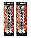Proud Grill Slide & Serve BBQ Skewers - Set of 4 Stainless Steel Reusable Barbecue Skewers   Ideal for Grilling Shish Kabobs   Use for Beef, Pork, Chicken, Vegetable and Shrimp Kabobs.
