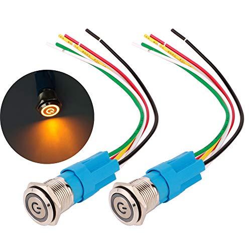Gebildet 16mm Enclavamiento Pulsador de Botón Metálico Interruptores Acero Inoxidable Impermeable Plana Top ON/Off 12V-24V 5A Pulsador con Enchufe de Cable(LED Amarillo)