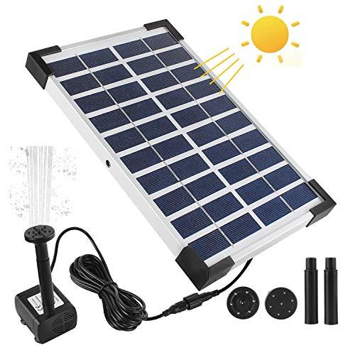 Boadw 5W Solar Springbrunnen Solar Gartenpump mit 3 Verschiedenen Düse Solar Wasserpumpe Teich Springbrunnen