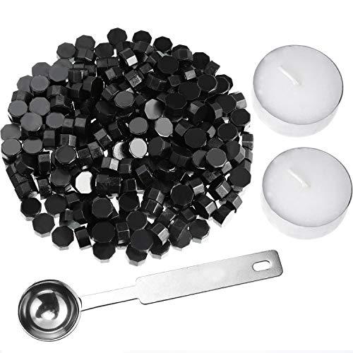 Kit para sellado que incluye 230 cuentas octogonales de lacre con 2 velas de té y 1 cuchara para derretir cera negro