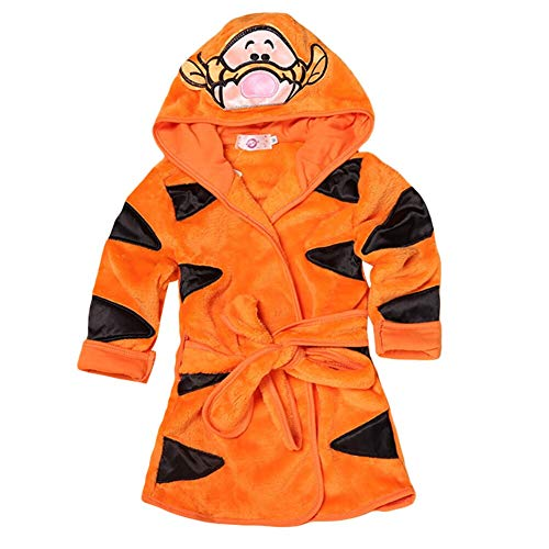 LIUONEXI Baby Jungen Mädchen Cartoon Bademantel Weichkorallen Fleece Infant Kleinkind Muticolored Nachtwäsche Outfit, Orange/Tiger, 90(EU80/86)
