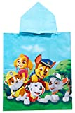 Nick Junior Poncho Cappuccio colorato Foto di Gruppo con macerie, Chase, Skye, Marshall e Rocky, per Bambini, 50 x 115 cm, 100% Cotone