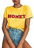 BLACKMYTH Women Graphic Funny T Shirt Cute Tops Teen Girl Tees Yellow Small