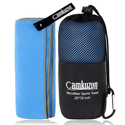 Camkuzon Microfiber Towel - Quick Dry Super Absorbent Travel Sports Towel Ultra Compact Lightweight - Best for Camping, Beach, Gym, Yoga, Hiking, Swimming - 4 Sizes