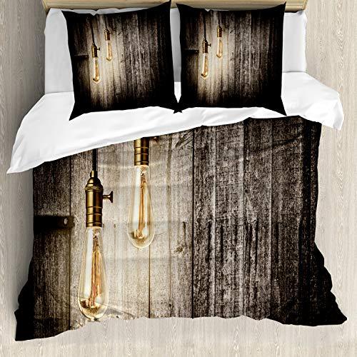 ABAKUHAUS industrieel Dekbedovertrekset, elektrische Retro, Decoratieve 3-delige Bedset met 2 Sierslopen, 155 cm x 220 cm, Pale Yellow Brown