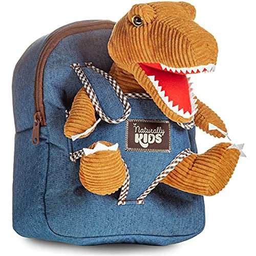 Naturally KIDS Small Dinosaur Backpack Dinosaur Toys for Kids 3-5 - Dinosaur Toys for 3 4 5 6 Year Old Boys Gift - Toddler Backpack for Boys Dinosaurs for Boys Dino Toy - Dinosaur Plush Stuffed Animal